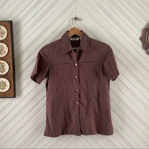 Vtg Minimalist Linen Button Down Top